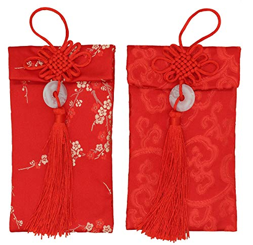 (Red Golden Chinese Hongbao Envelopes Festive and Silk Wedding Money Pocket Element Large with Blank red Envelope by Jiary(Flower))