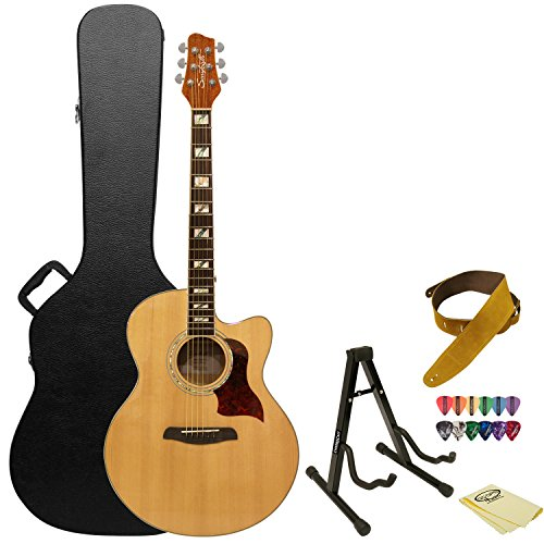 Sawtooth Maple Series Acoustic-Electric Cutaway Jumbo Guitar with Hard Case and Accessories -