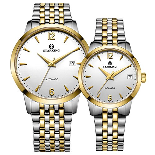 STARKING Couple Watch Automatic Self Winding Silver Black AML0194 Sapphire Stainless Steel Watches Date by STARKING