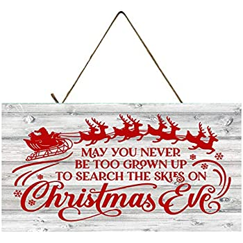 Twisted R Design Christmas Decor Hanging Wood Wall Sign (Red May You Never)