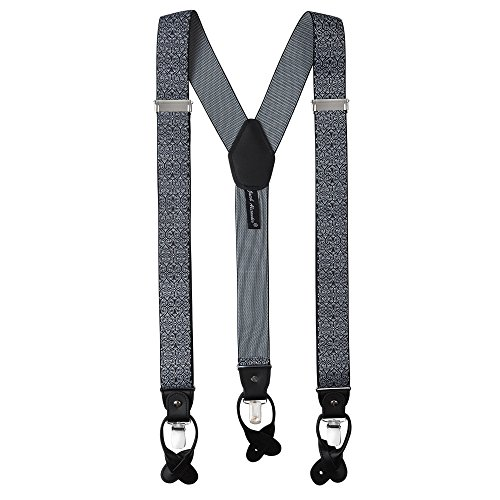 - Jacob Alexander Men's Floral Y-Back Suspenders Braces Convertible Leather Ends Clips - Black White