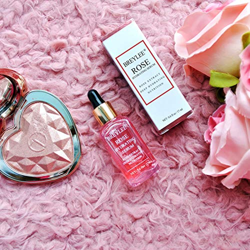 Rose Face Serum, BREYLEE Hydrating Serum Moisturizing Serum Face Serum Hydrating with Hyaluronic Acid Alcohol Free Facial Serum for Skin Care(17ml,0.6fl oz.)