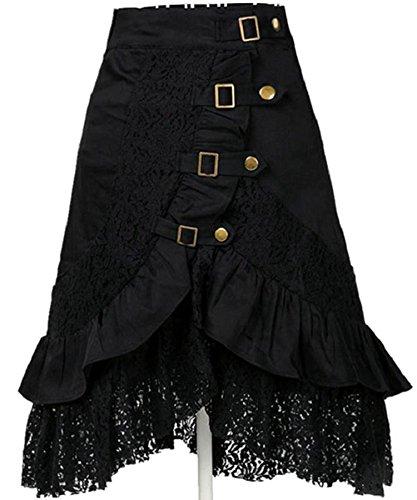 Rolanscia Rtro Femme Jupe Dentelle Noire De Punk Gothique Rock Jupe Asymtrique Noir