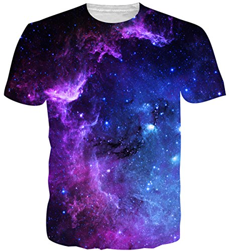 Uideazone Mens 3D Nebula Star Cluster Crewneck T-Shirt Juniors Cool Tee Tops