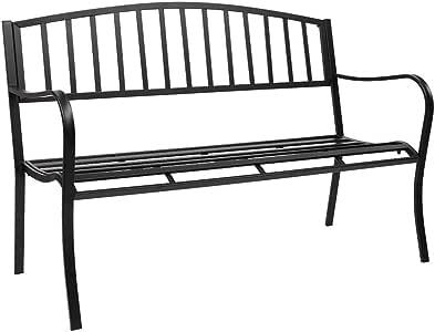 "VINGLI 51"" Patio Outdoor Metal Bench,Powder Coated Cast Iron Steel Vertical Grid Design for Garden Path Yard Lawn Work Entryway Decor Deck, Black"