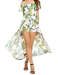 Meaneor Women's Casual Floral Boho Off Shoulder Short Sleeve Romper Maxi Dress
