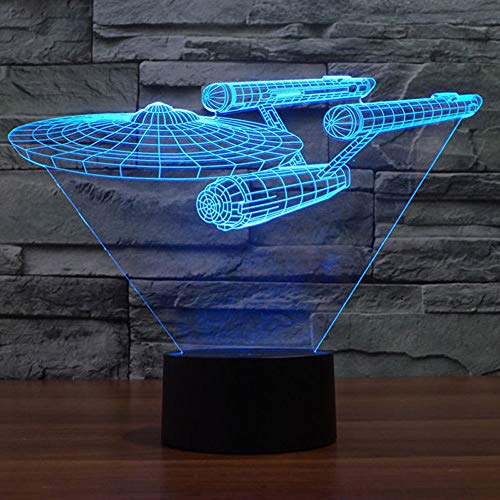 Enterprise Light - Smalody Star Trek Battleship 3D Optical Illusion Multi-Colored Change Touch Botton Desk Lamp Table Light Home Decor (Colorful)