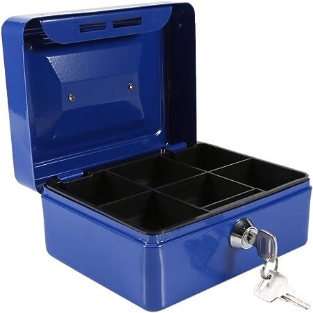 Caja Fuerte portátil Cajas de caudales Caja de Dinero pequeña con Cerradura de Llave, Caja de Seguridad portátil de Almacenamiento de Monedas de Metal de Doble Capa(Azul): Amazon.es: Hogar