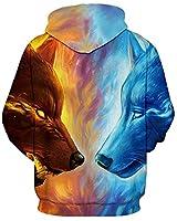 GLUDEAR Unisex Realistic 3D Digital Print Pullover Hoodie Hooded Sweatshirt,Ice&Fire Wolf,11-12Y