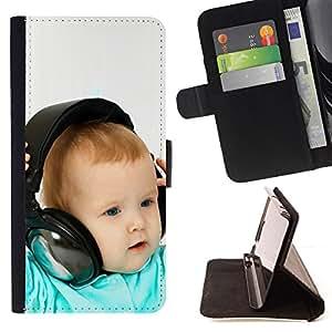 BullDog Case - FOR/HTC One M8 / - / BABY & HEADPHONES /- Monedero de cuero de la PU Llevar cubierta de la caja con el ID Credit Card Slots Flip funda de cuer