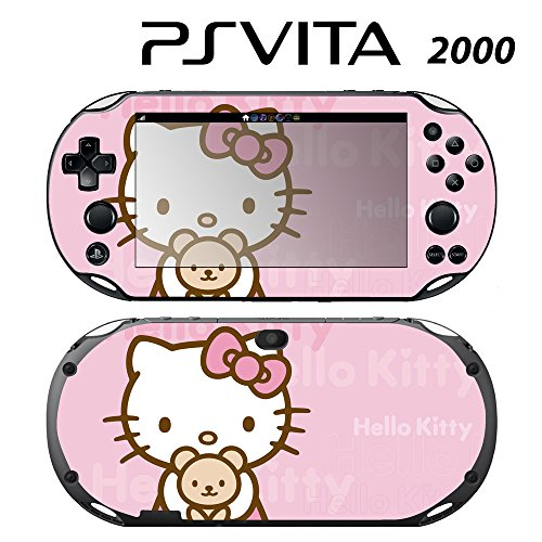 Decorative Video Game Skin Decal Cover Sticker for Sony PlayStation PS Vita Slim (PCH-2000) - Hello Kitty Pink Teddy Bear Front Vinyl Teddy