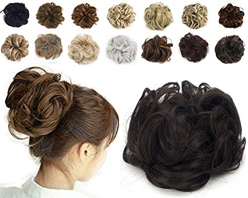 Haironline Scrunchie Bun Up Do Hair Piece Hair Ribbon Ponytail Extensions Wavy Curly Ginger Brown Mix Bleach Blonde