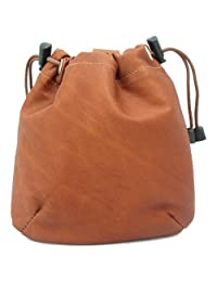 Piel Leather Drawstring Pouch, Saddle, One Size