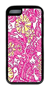 for iphone 6 4.7 Case Pink Flower Pattern Background TPU Custom for iphone 6 4.7 Case Cover Black