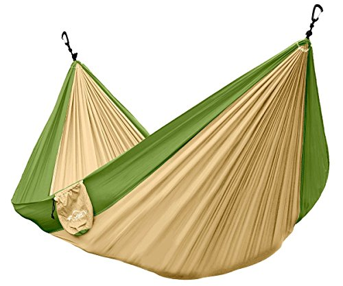Lamoo Single Camping Hammock - Ultralight Portable Nylon Parachute Hammocks for Backpacking, Travel, Camping, Beach, Tree Ropes & Aluminum Wiregate Carabiners Included (Khaki/Olive Green) (Olive Green Football)