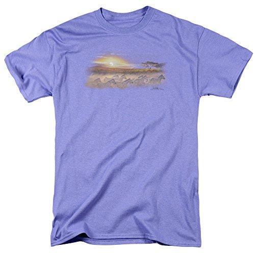 Trevco Men's Wildlife Short Sleeve T-Shirt, Sunset Lavender, (Short Sleeve Sun Life)