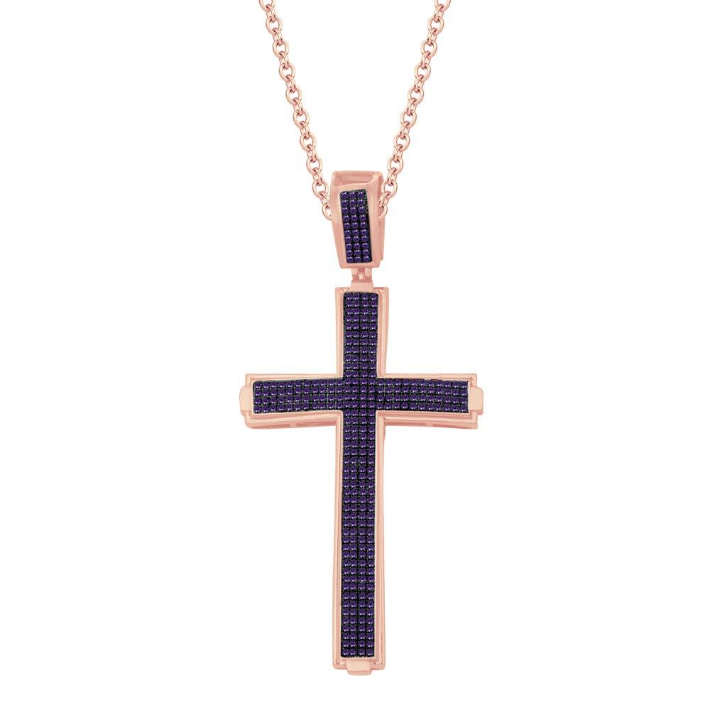 Dividiamonds 1.34 Ct Round Simulated Diamond Prong Set Cross Pendant 18 Chain 14K Rose Gold Plated 925