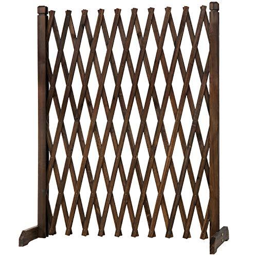 MyGift Expandable Freestanding Wood Garden Trellis Fence Plant Screen