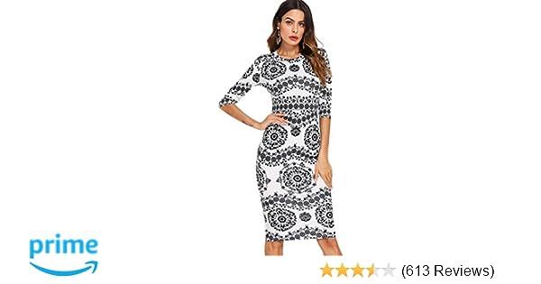 64302a51bd52b Floerns Women s Porcelain Print Work Sheath Business Pencil Dress at Amazon Women s  Clothing store