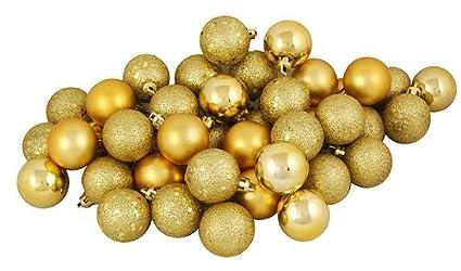 20 Holiday Time Mini Shatterproof Satin Shiny And Glitter Finish Bulb Christmas Ornaments Gold
