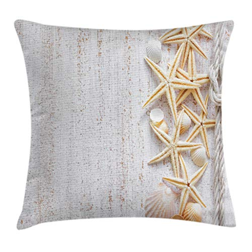 Ambesonne Seashells Throw Pillow Cushion Cover, Seashells and Starfish with Navy Rope in Vertical Direction Wood Surface Ocean Beach, Decorative Square Accent Pillow Case, 24 X 24 Inches, Ivory