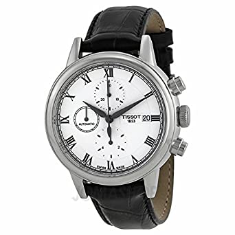 Tissot Carson Chronograph White Zifferblatt Schwarz Leder Mens Watch T0854271601300