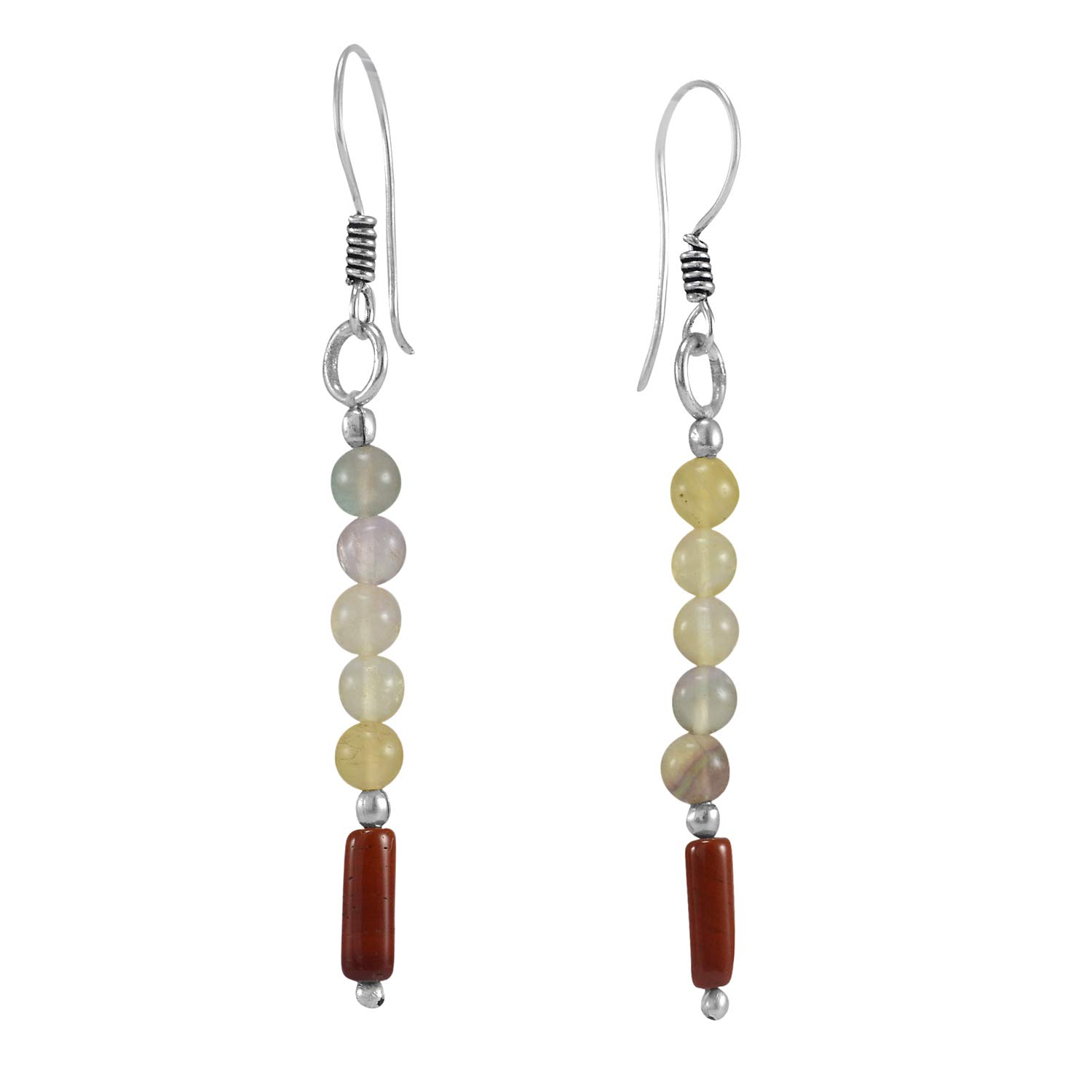 Wire-wrapped Dangle Earring Jaipur Rajasthan India Handmade Jewelry Manufacturer Round Beaded Citrine /& Jasper 925 Silver Plated