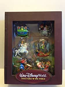 Walt Disney World - Four Parks One World Storybook Ornament Set, Includes: Disney Characters Riding Walt Disney Attraction Rides