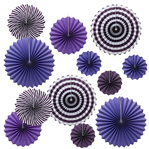 (OnUpgo Purple Paper Fans Hanging Paper Fans Flower Set, 12PCS Mexican Fiesta Kids Party Decorations Hanging Banner for Wedding Birthday Engagement Bridal Shower Baby Shower Event Holiday Celebration)