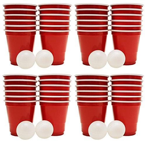 Black Duck Brand Set of 4 Mini Beer Pong Game Sets! Shot Pong Game (8 Balls - 48 Cups)
