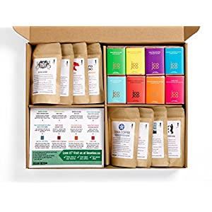 Bean Box Gourmet Coffee and Chocolate Deluxe Gift Box - (8 handpicked roasts + 8 chocolate bars, whole bean coffee, gifts for mom, gifts for dad)