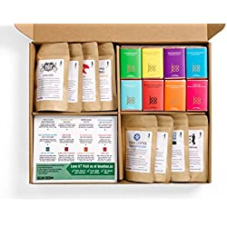 Bean Box Gourmet Coffee and Chocolate Deluxe Gift Box - (8 handpicked roasts + 8 chocolate bars, whole bean coffee, Christmas gift, holiday gift)