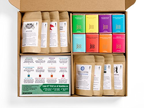 Coffee Gift Box (Bean Box Gourmet Coffee and Chocolate Deluxe Gift Box - (8 handpicked roasts + 8 chocolate bars, whole bean coffee, Christmas gift, holiday gift))
