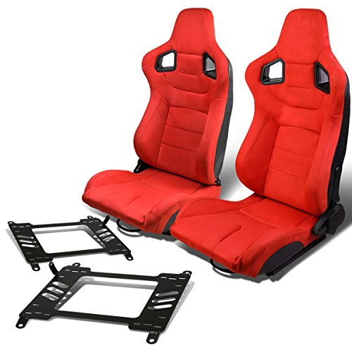 Pair of RS-025-RD Suede Reclinable Racing Seat +Bracket for Nissan 350Z ()