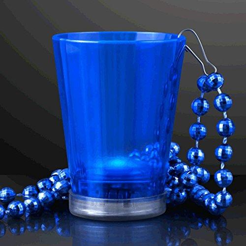 blinkee Light Up Blue Shot Glass on Blue Beaded Necklaces -