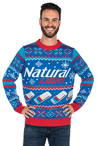 Tipsy Elves Men's Natural Light Ugly Christmas Sweater - Natty Light Xmas Sweater: X-Large Blue