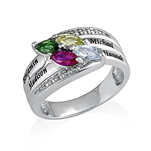 Engraved Mother Ring with Birthstones in Sterling Silver - Personalized & Custom Made Gift for Her