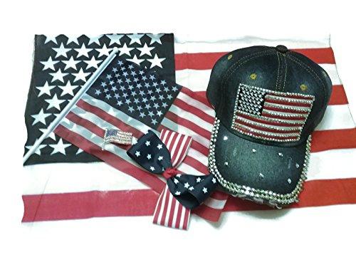 Proud to be an Amercan Rhinestone Denim Cap, U.S.A. Flag Brooch, Stars & Stripes Hair Bow, Large U.S.A. Flag Bandana and Flag Bundle - 5 Items