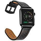 Mifa Leather band for Apple Watch 42mm iwatch series 1 2 3 Replacement strap dressy classic Bands buckle vintage case Band with Black Stainless Steel Adapters (42mm, Black)