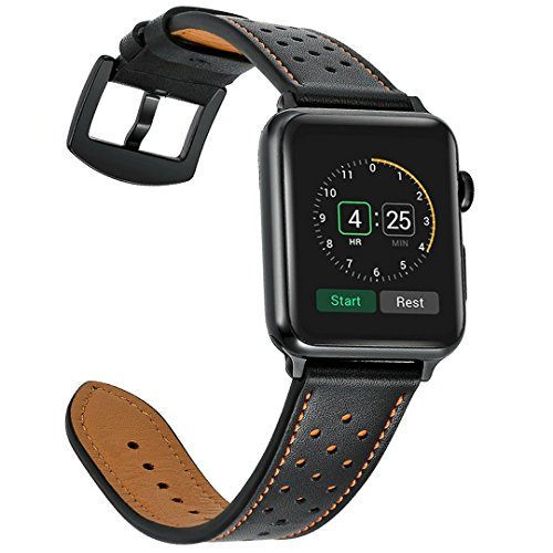 Mifa - Apple Watch Band Leather 42mm Bands iwatch series 1 2 3 Replacement strap dressy classic buckle vintage case Band with Black Stainless Steel Adapters (42mm, Black)