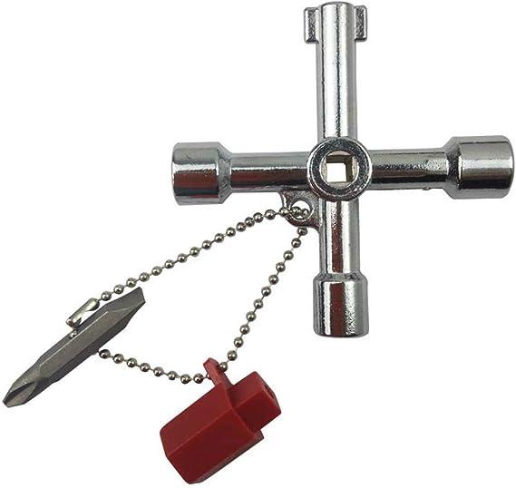 Kongnijiwa 4 en 1 Universal Cruz Llave de v/álvula Tri/ángulo Cuadrado con Destornillador 112x29mm