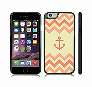 iStar Cases? iPhone 6 Plus Case with Chevron Pattern Peach Coral/ Pink Beige Stripes Salmon Pink Anchor , Snap-on Cover, Hard Carrying Case (Black)