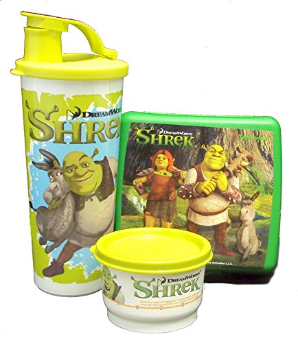 Tupperware New Lunch Set Dreamworks Shrek Sandwich Keeper, Snack Cup, and Tumbler, Green