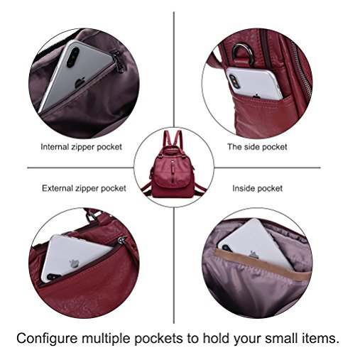 Green Women Bags Handbags Leather Small School Backpack Casual PU for Women Girls Vintage YIMOJI Fashion Travel Daypack 7aUr7pq