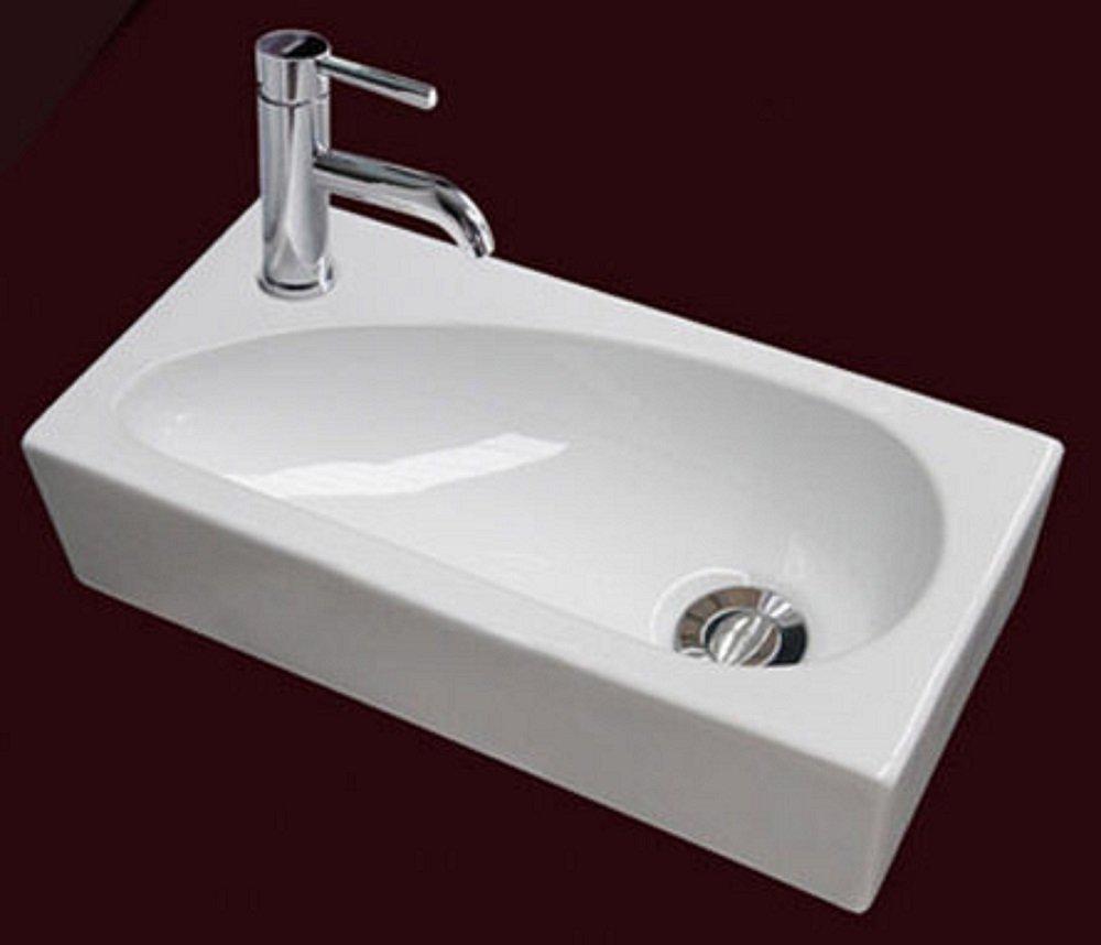 Stylish U0026 Modern Rectangular LEFT HAND Small Hand Wash Cloakroom Basin/Sink   1 Tap Hole: Amazon.co.uk: Kitchen U0026 Home