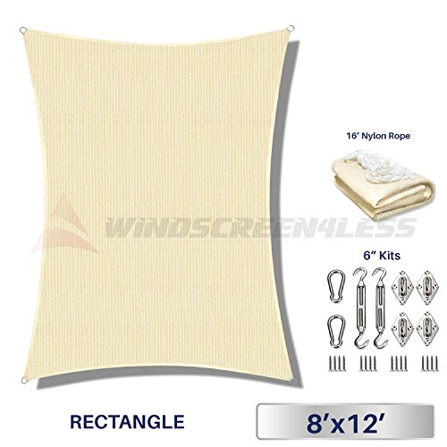 Windscreen4less 8 x 12 Rectangle Sun Shade Sail with 6 inch Hardware Kit – Beige Durable UV Shelter Canopy for Patio Outdoor Backyard – Custom
