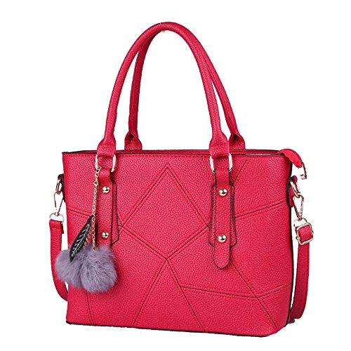 Xuanbao Bolso de Mano Diagonal Simple del Hombro del Modelo de Costura de la señora Simple (Color : Azul) Rojo