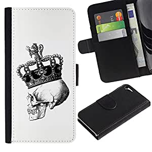Billetera de Cuero Caso del tirón Titular de la tarjeta Carcasa Funda del zurriago para Apple Iphone 5 / 5S / Business Style Skull Death King Crown White Black