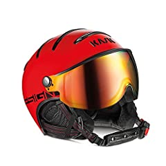 Yellow and Red shells pair with the same color of the sewing detail for the strap. Carbon-look for the earflaps and chinstrap and a new design on the back. Frames on the ventilation system have been added a touch of light with a chrome finish...