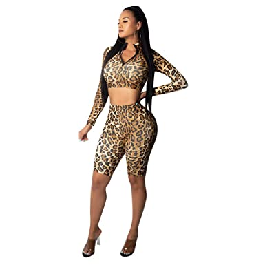 0f64eef7c681 Amazon.com  Women Leopard Print 2 Piece Outfits Jumpsuits Sexy Long Sleeve  Zipper Crop Top High Waisted Bodycon Rompers  Clothing